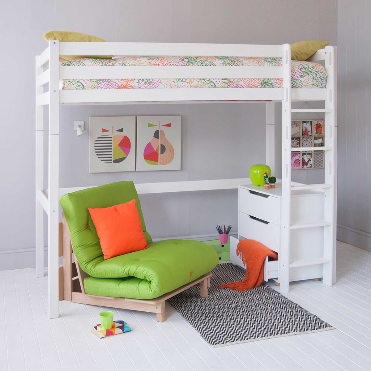 Buddy Childrens Beech Highsleeper Loft Bed With Chest of Drawers and Futon Chair Bed