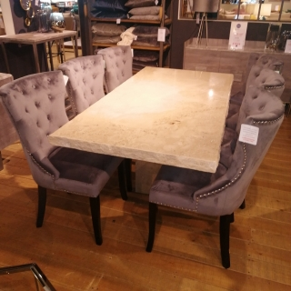 Stone International Dining Table & 6 Kinsey Chairs