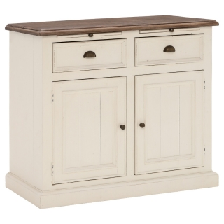 Carisbrooke Reclaimed Wood Narrow 2 Door and 2 Drawer Sideboard, Stucco White
