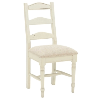 Carisbrooke Dining Chair with Turned Legs and Fabric Seat, Stucco White