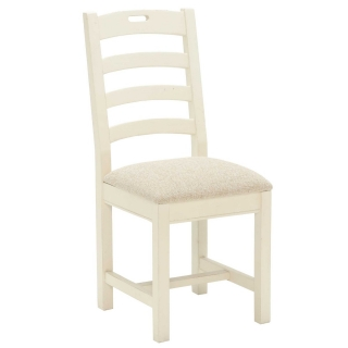 Carisbrooke Dining Chair with Square Legs and Fabric Seat, Stucco White