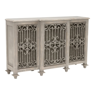 Versaille Reclaimed Wood and Cast Iron Sideboard, Pine