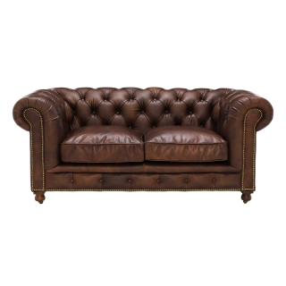 Asquith Leather 2 Seater Chesterfield Sofa