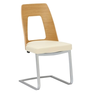 Ercol Romana Cantilever Leather and Wood Dining Chair
