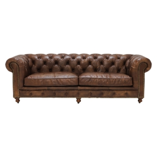 Asquith Leather 3 Seater Chesterfield Sofa