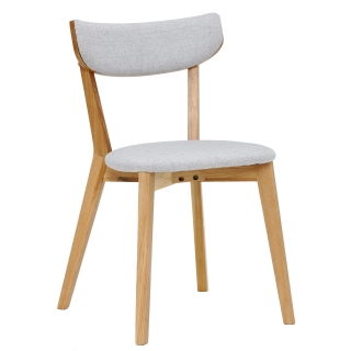 Lund Solid Wood Dining Chair with Fabric Seat, Light Grey and Oak