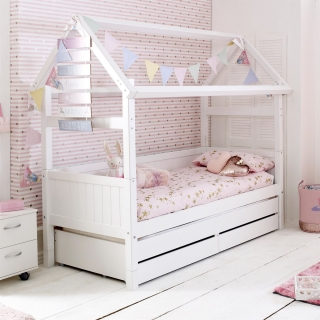 Barney Childrens Playhouse Bed with Trundle