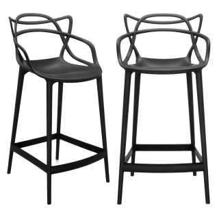 Pair of Kartell Masters Counter Stools, Black