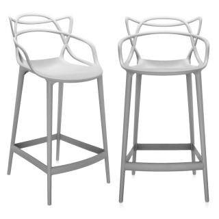 Pair of Kartell Masters Counter Stools, Grey