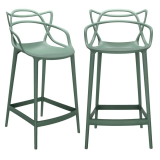 Pair of Kartell Masters Counter Stools, Sage