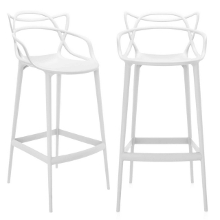 Pair of Kartell Masters Counter Stools, White