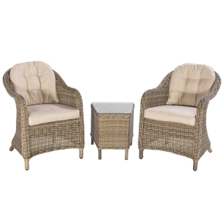 Taransay 3 Piece Garden Lounge Set in Natural Weave and Beige Fabric