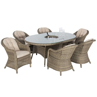 Taransay 6 Seat Oval Garden Dining Set in Natural Weave and Beige Fabric