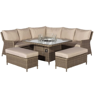 Taransay Royal Garden Corner Dining Set with Fire Pit in Natural Weave and Beige Fabric