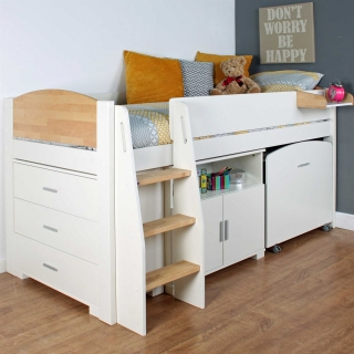 Urban Birch Childrens Midsleeper Bed with pull out Desk, Chest and Cupboard
