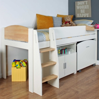Urban Birch Childrens Midsleeper Bed with pull out Desk and Cupboard