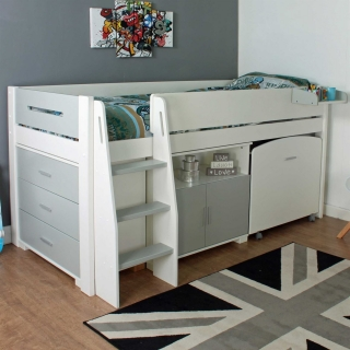 Urban Grey Childrens Midsleeper Bed with pull out Desk, Chest and Cupboard
