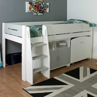Urban Grey Childrens Midsleeper Bed with pull out Desk and Cupboard