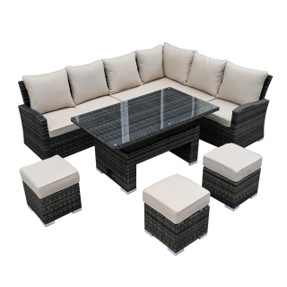 Amble Corner Garden Dining Set with Rising Table in Brown Weave and Beige Fabric