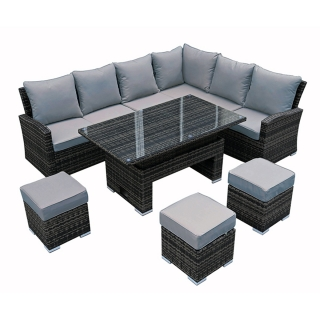 Amble Corner Garden Dining Set with Rising Table in Grey Weave with Grey Farbic