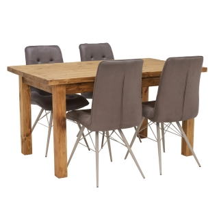 Covington Reclaimed Wood Dining Table and 4 Hix Chairs