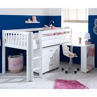 Ferdie Childrens Midsleeper Bed with pull out Desk and Chest