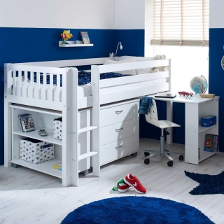 Ferdie Childrens Midsleeper Bed with pull out Desk, Chest and Bookcase