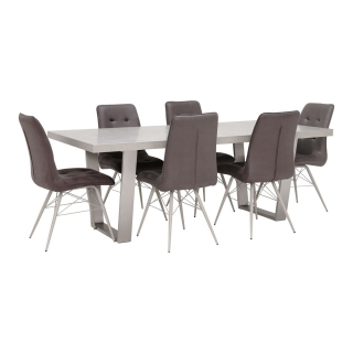 Halmstad Dining Table and 6 Hix Chairs, Grey