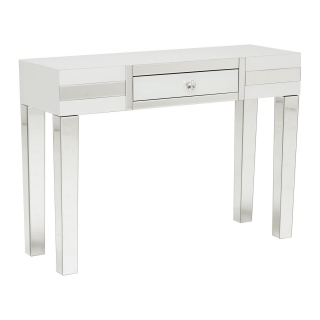 Krystal 1 Drawer Dressing Table, White Glass and Mirror