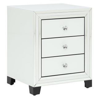 Krystal 3 Drawer Bedside Cabinet, White Glass and Mirror