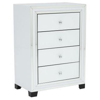Krystal 4 Drawer Chest, White Glass and Mirror