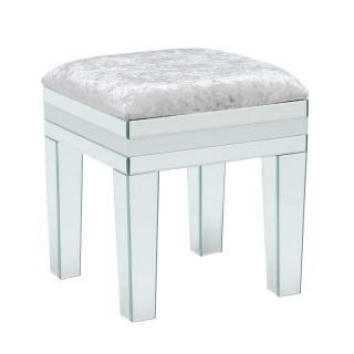 Krystal Dressing Table Stool, White Glass and Mirror