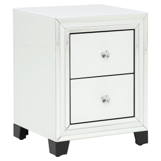 Krystal 2 Drawer Bedside Cabinet, White Glass and Mirror