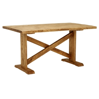 Newsham Reclaimed Wood Dining Table, Polished Brown