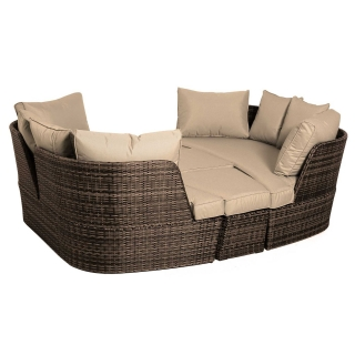 Ascot Garden Day Bed in Brown Weave and Beige Fabric