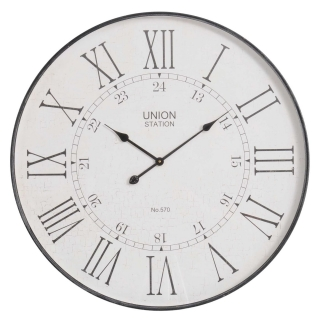 Antique Station Roman Numeral Wall Clock, Grey
