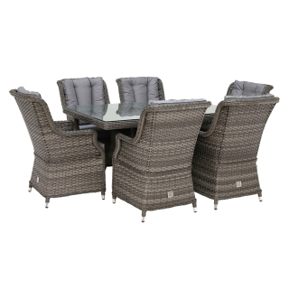 Amberley 6 Seat Rectangular Dining Set and Parasol Grey Weave and grey Fabric