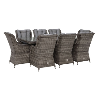 Amberley 8 Seater Garden Rectangular Dining Set in Grey Weave and Grey Fabric with Parasol