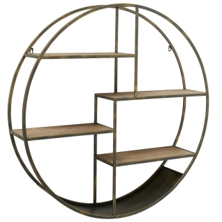 Round Wall Shelf, Antique Brass and Wood