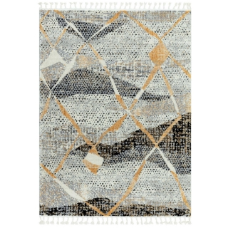 Aria Abstract Rug, Monochrome and Orange