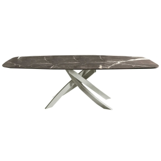 Bontempi Artisitico Dining Table, Marble grey white and light grey base