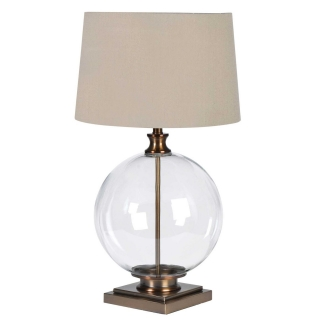 Glass Ball Table Lamp, Antique Brass