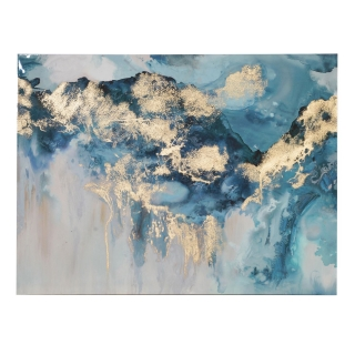 Abstract Gold Foil Canvas, Blue and Gold
