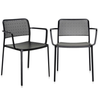 Pair of Kartell Audrey Dining Chairs with Arms, Black