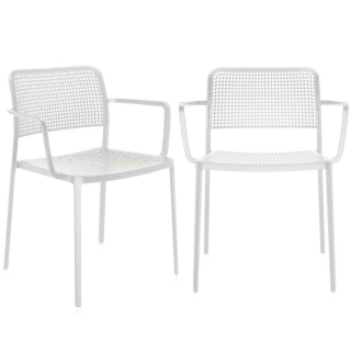 Pair of Kartell Audrey Dining Chairs with Arms, White