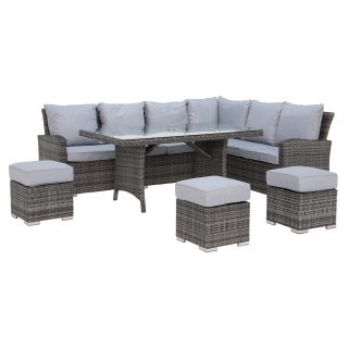 Beadnell Corner Garden Dining Set With Grey Weave and Grey Fabric