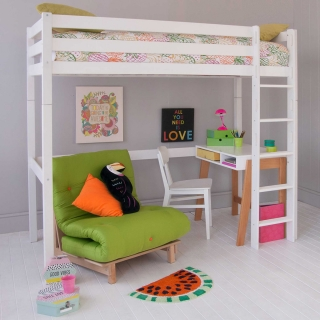 Buddy Childrens Beech Highsleeper Loft Bed With Desk and Futon Chair Bed