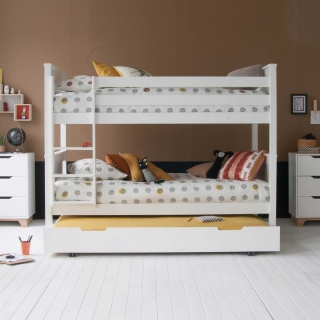 Buddy Childrens Beech Bunk Bed With Trundle