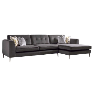 Conza Large Right Hand Facing Standard Back Chaise Sofa, Plush Charcoal