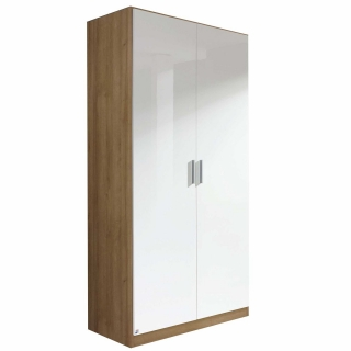 Celle 2 Door Hinged Wardrobe, High Polish White and San Remo Oak